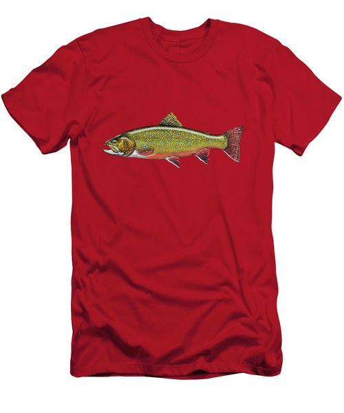 Brook Trout On Red Leather Men's T-Shirt (Slim Fit) by Serge Averbukh