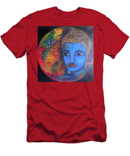 Men's T-Shirt (Slim Fit) featuring the painting Buddha Within A Circular Background by Prerna Poojara