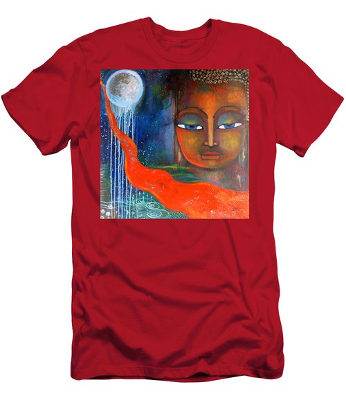 Men's T-Shirt (Slim Fit) featuring the painting Buddhas Robe Reaching For The Moon by Prerna Poojara