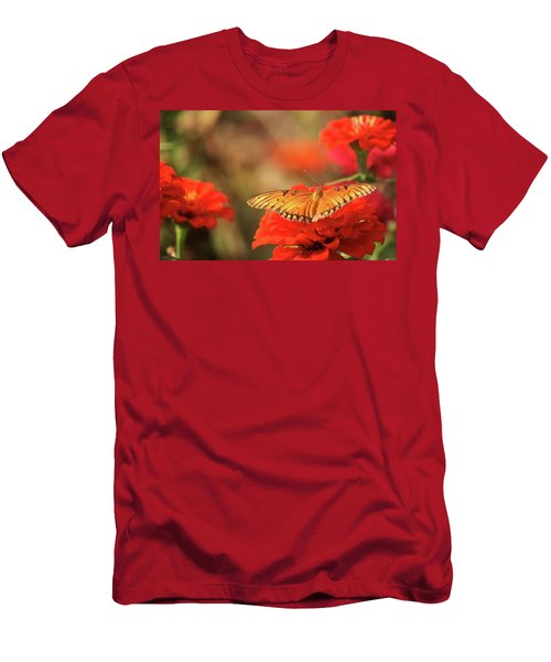 Men's T-Shirt (Slim Fit) featuring the photograph Butterfly And Flower I by Donna G Smith