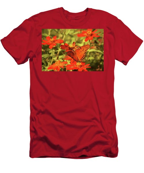 Butterfly And Flower II Men's T-Shirt (Slim Fit) by Donna G Smith