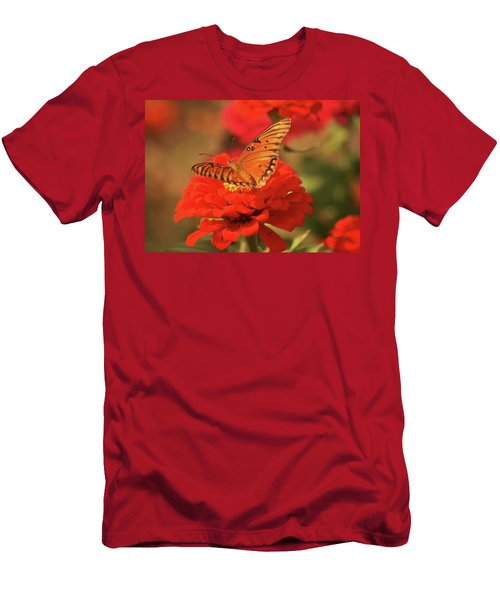 Men's T-Shirt (Slim Fit) featuring the photograph Butterfly In Garden by Donna G Smith