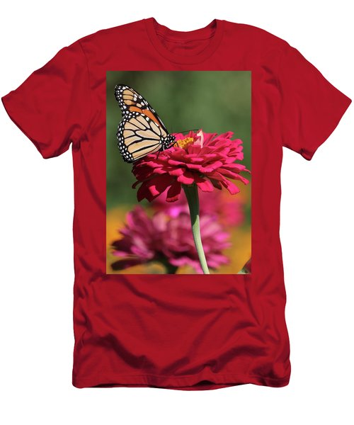 Butterfly On Zinnia Men's T-Shirt (Athletic Fit)