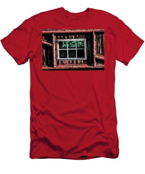 Men's T-Shirt (Slim Fit) featuring the photograph Caboose Window by Brad Allen Fine Art