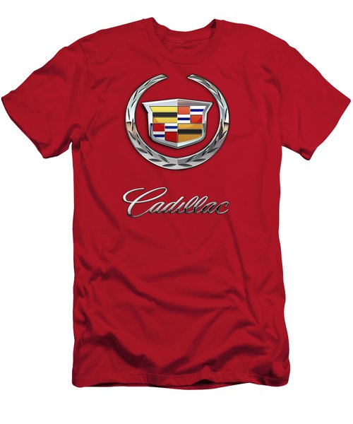 Cadillac - 3 D Badge On Red Men's T-Shirt (Slim Fit) by Serge Averbukh