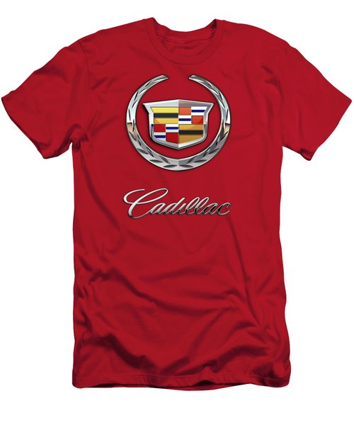 Cadillac - 3 D Badge On Red Men's T-Shirt (Athletic Fit)