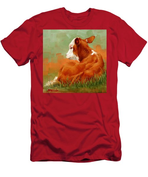 Calf Reclining Men's T-Shirt (Slim Fit)