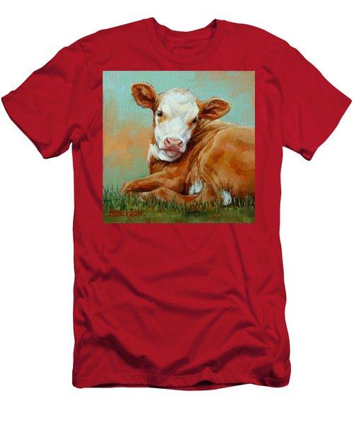 Calf Resting Men's T-Shirt (Slim Fit) by Margaret Stockdale