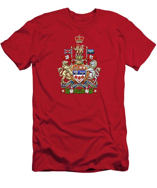 Canada Coat Of Arms Over Red Silk Men's T-Shirt (Athletic Fit)