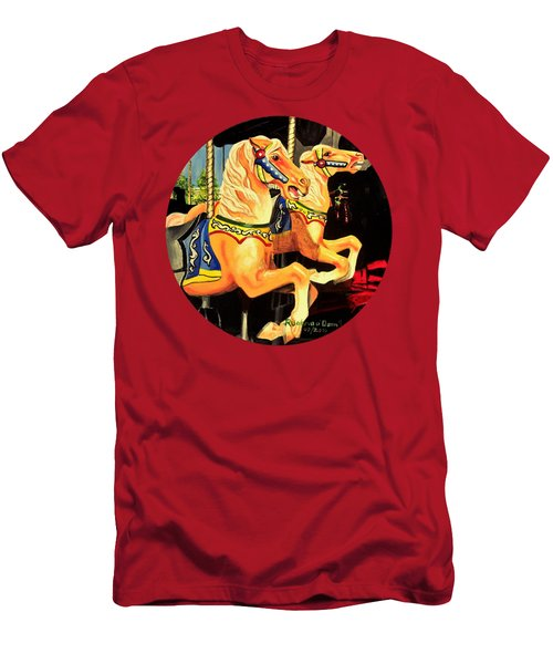 Carousel Palominos Men's T-Shirt (Slim Fit) by Ruanna Sion Shadd a'Dann'l Yoder