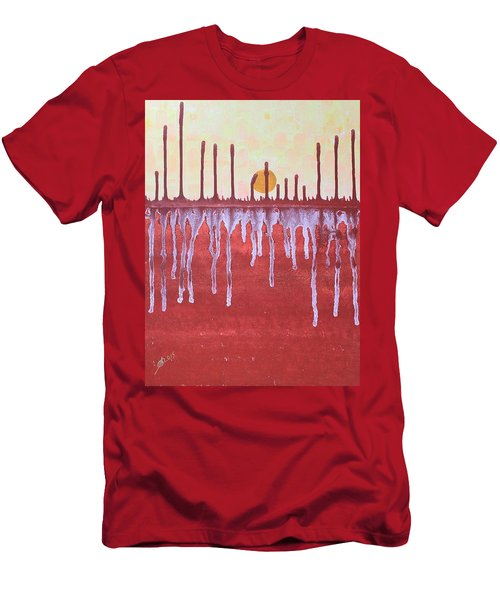 Cattails Original Painting Sold Men's T-Shirt (Slim Fit) by Sol Luckman