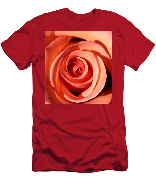 Men's T-Shirt (Slim Fit) featuring the photograph Center Of The Peach Rose by Barbara Chichester