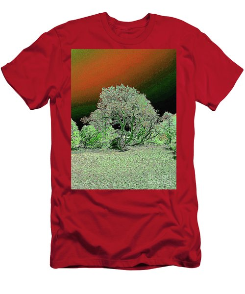 Men's T-Shirt (Athletic Fit) featuring the digital art Center Tree With Character And Neighbors by Merton Allen