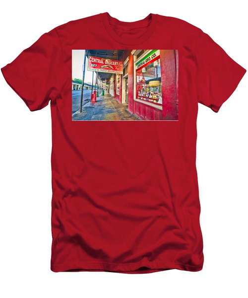 Men's T-Shirt (Slim Fit) featuring the photograph Central Grocery And Deli In The French Quarter by Andy Crawford