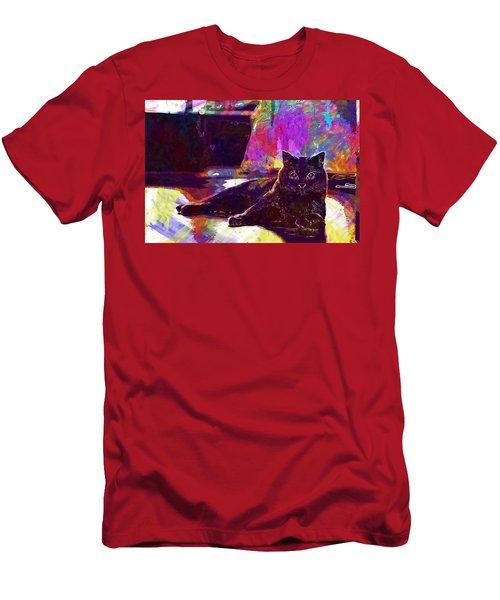 Men's T-Shirt (Athletic Fit) featuring the digital art Chartreux Cat Animals Pet Mieze  by PixBreak Art