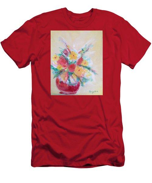 Cheerful Flower Arrangement Men's T-Shirt (Slim Fit) by Roxy Rich
