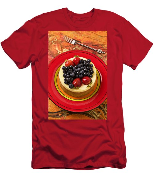Cheesecake On Red Plate Men's T-Shirt (Slim Fit) by Garry Gay