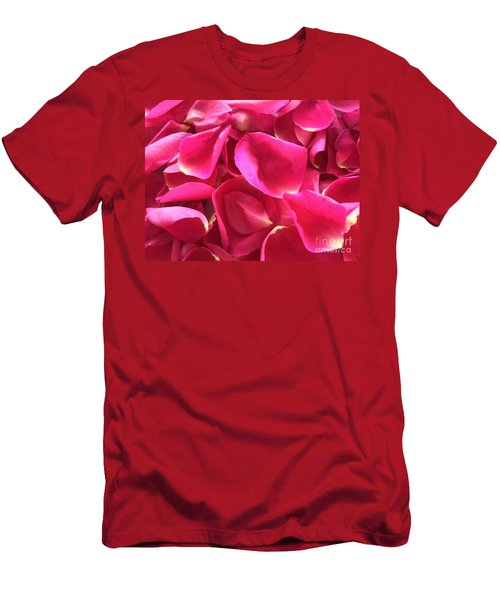 Cherry Pink Rose Petals Men's T-Shirt (Athletic Fit)