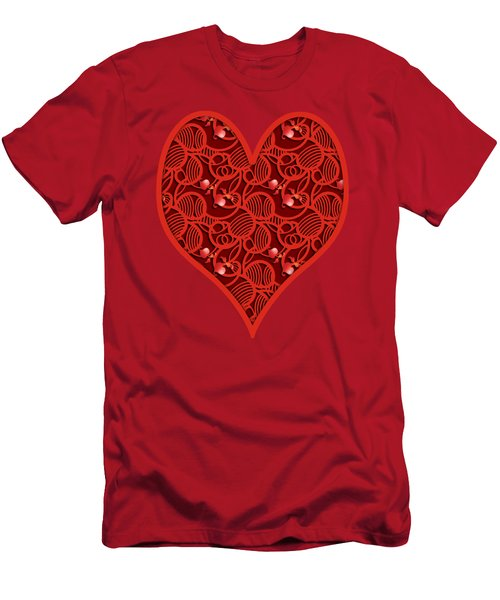 Cherry Tomato Red Hearts Men's T-Shirt (Athletic Fit)