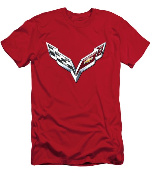 Chevrolet Corvette - 3d Badge On Red Men's T-Shirt (Slim Fit) by Serge Averbukh