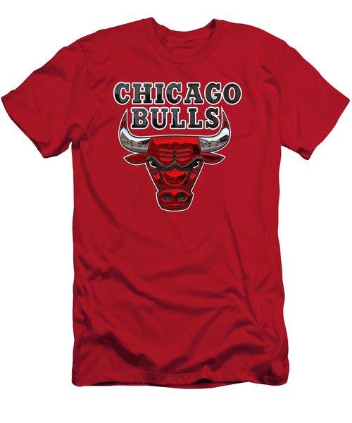 Chicago Bulls - 3 D Badge Over Flag Men's T-Shirt (Athletic Fit)