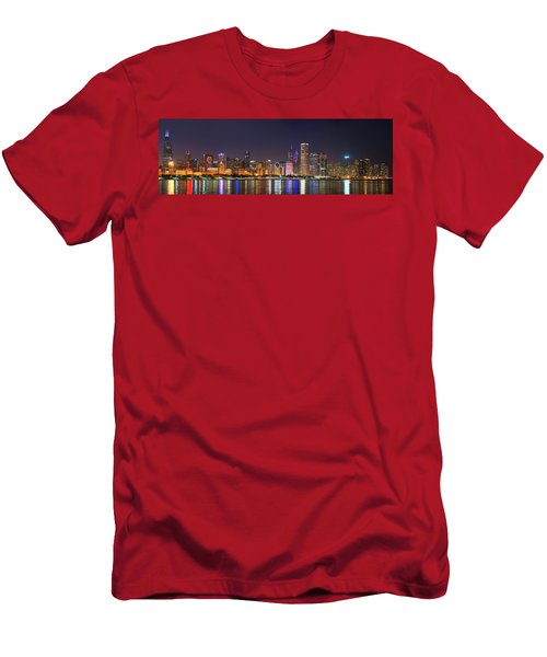 Chicago Skyline With Cubs World Series Lights Night, Chicago, Cook County, Illinois,  Men's T-Shirt (Athletic Fit)
