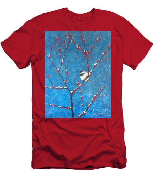Men's T-Shirt (Athletic Fit) featuring the painting Chickadee Bird by Denise Tomasura