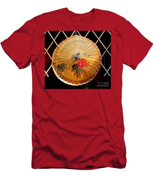 Men's T-Shirt (Slim Fit) featuring the photograph Chinese Hand-painted Oil-paper Umbrella by Yali Shi