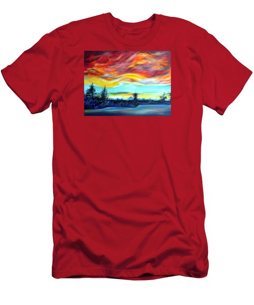 Men's T-Shirt (Slim Fit) featuring the painting Chinook Arch Over Bow River by Anna  Duyunova