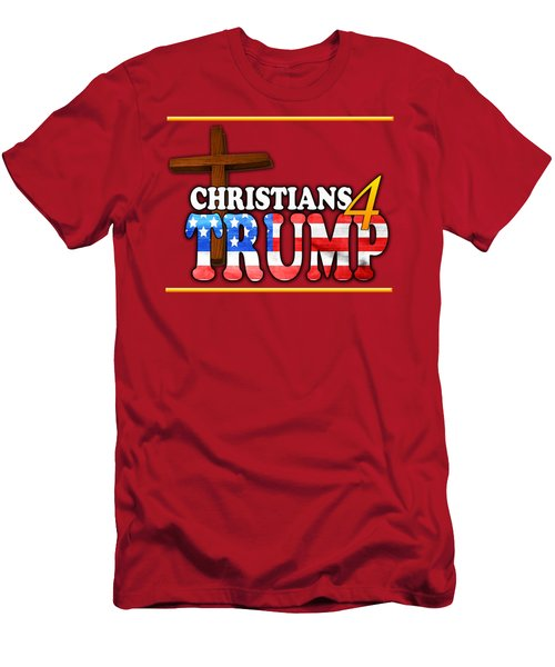 Christians 4 Trump Cross Men's T-Shirt (Athletic Fit)