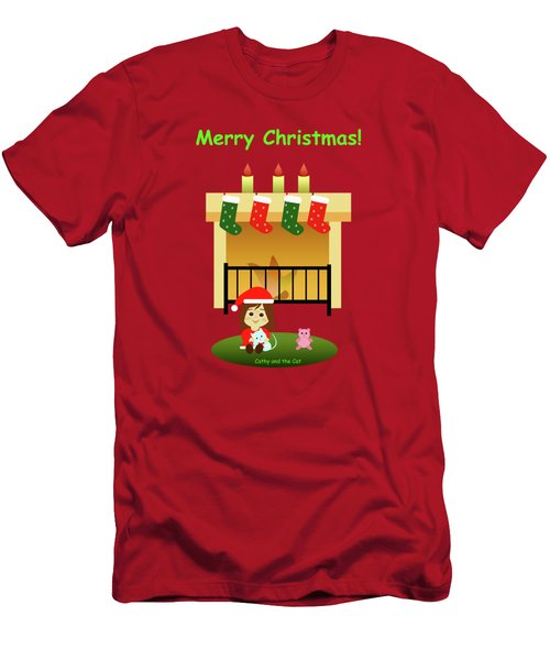 Christmas #4 And Text Men's T-Shirt (Athletic Fit)