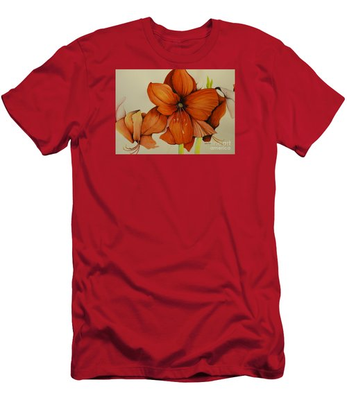 Men's T-Shirt (Slim Fit) featuring the painting Christmas Amaryllis by Rachel Lowry