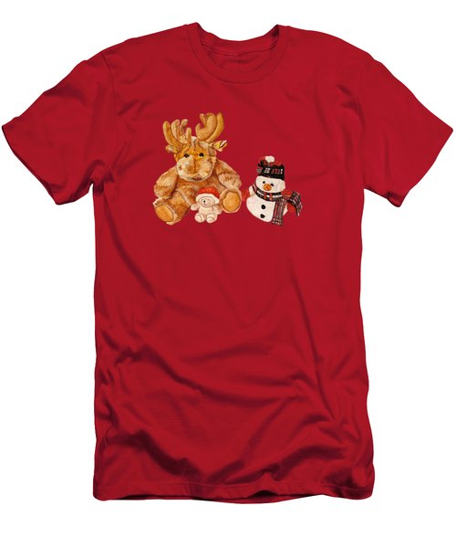 Men's T-Shirt (Athletic Fit) featuring the painting Christmas Buddies by Angeles M Pomata