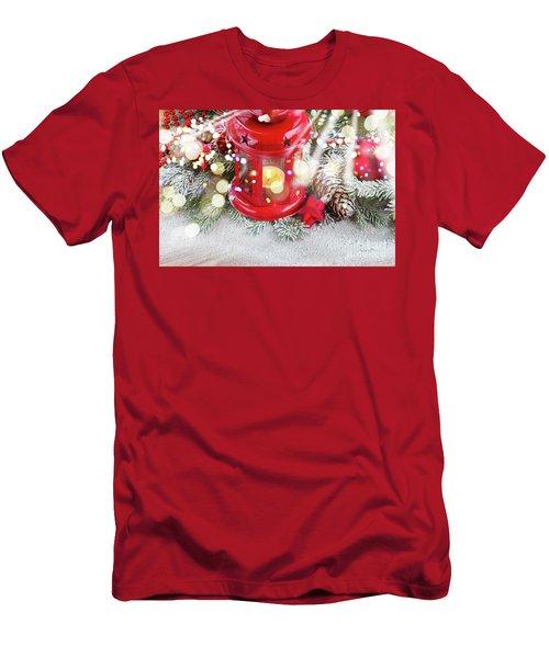 Christmas Red Lantern  Men's T-Shirt (Slim Fit) by Anastasy Yarmolovich