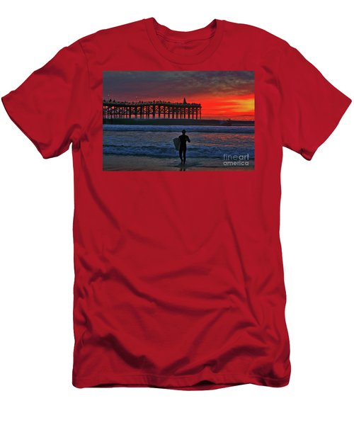 Christmas Surfer Sunset Men's T-Shirt (Athletic Fit)