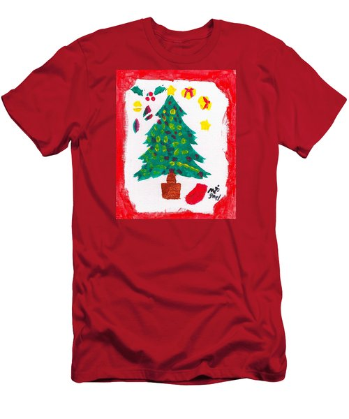 Men's T-Shirt (Slim Fit) featuring the painting Christmas Tree by Artists With Autism Inc