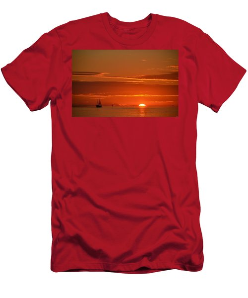 Christopher Columbus Replica Wooden Sailing Ship Nina Sails Off Into The Sunset Men's T-Shirt (Slim Fit) by Jeff at JSJ Photography