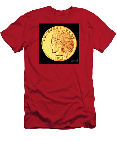 Classic Indian Head Gold Men's T-Shirt (Slim Fit) by Jim Carrell