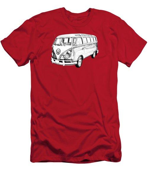 Classic Vw 21 Window Mini Bus Illustration Men's T-Shirt (Slim Fit) by Keith Webber Jr
