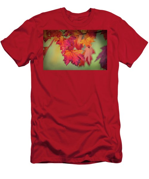 Close-up Of Red Maple Leaves In Autumn Men's T-Shirt (Athletic Fit)