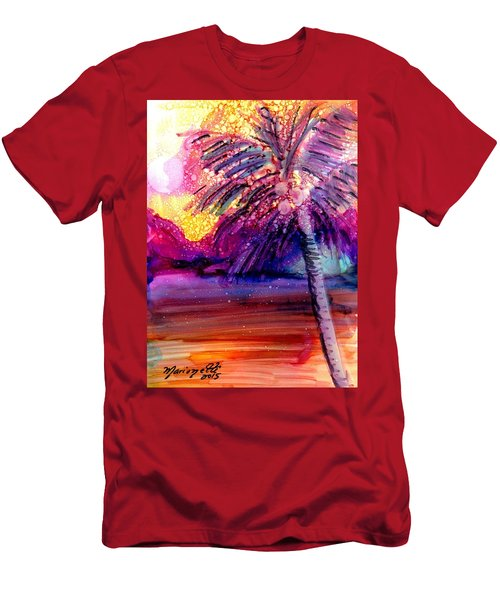 Men's T-Shirt (Slim Fit) featuring the painting Coconut Palm Tree 2 by Marionette Taboniar