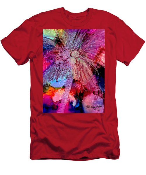 Men's T-Shirt (Slim Fit) featuring the painting Coconut Palm Tree 4 by Marionette Taboniar