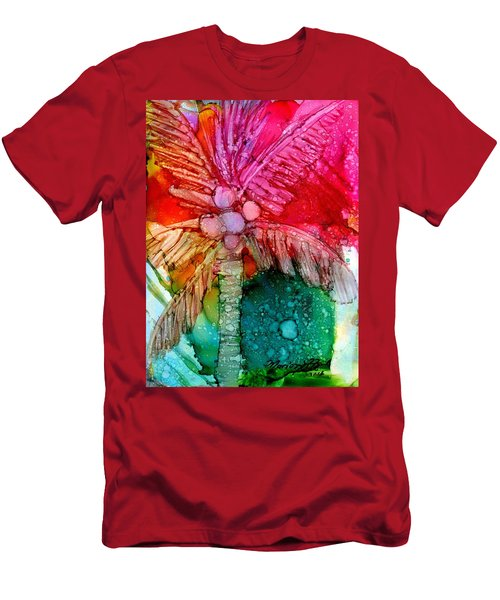 Men's T-Shirt (Slim Fit) featuring the painting Coconut Palm Tree by Marionette Taboniar