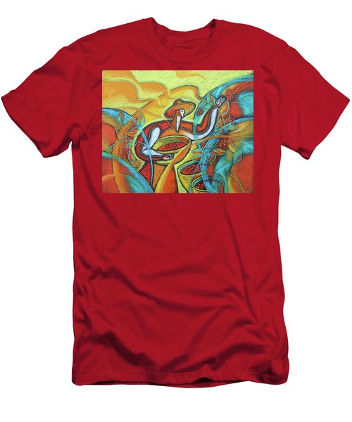 Men's T-Shirt (Slim Fit) featuring the painting Coffee Bean Harvest by Leon Zernitsky