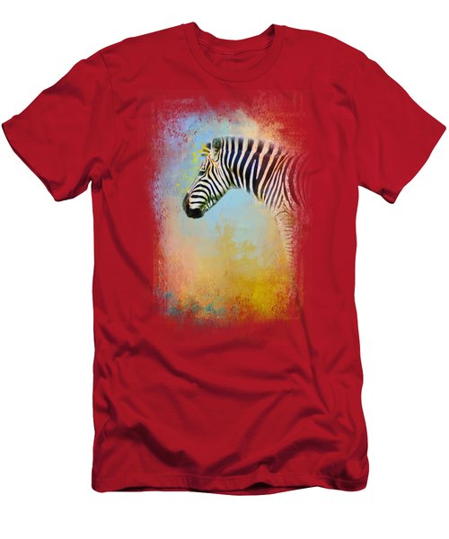 Colorful Expressions Zebra Men's T-Shirt (Slim Fit) by Jai Johnson