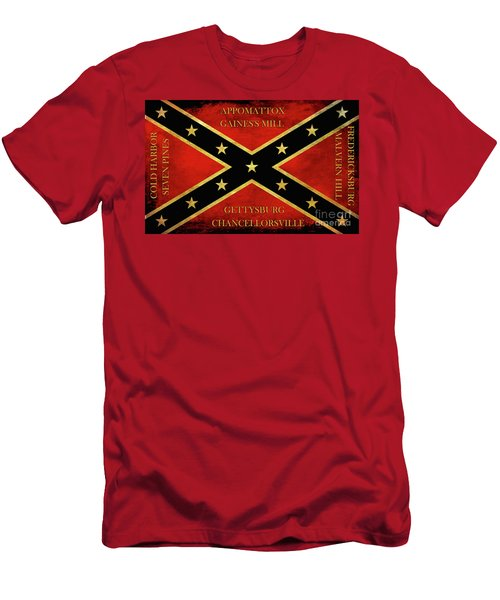 Confederate Battle Flag With Battles Men's T-Shirt (Athletic Fit)