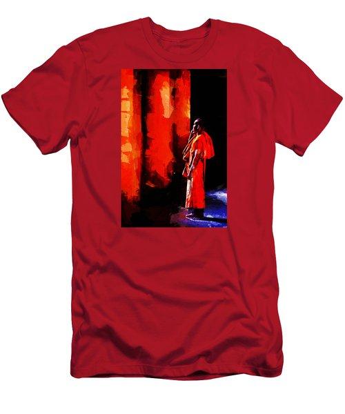 Cool Orange Monk Men's T-Shirt (Slim Fit) by Cameron Wood