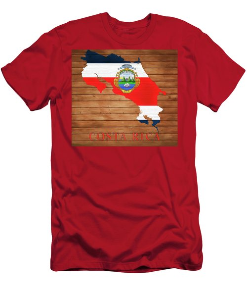 Costa Rica Rustic Map On Wood Men's T-Shirt (Athletic Fit)