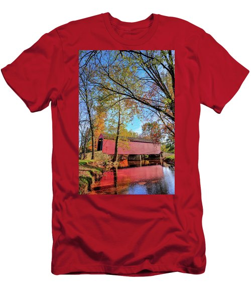 Covered Bridge In Maryland In Autumn Men's T-Shirt (Athletic Fit)