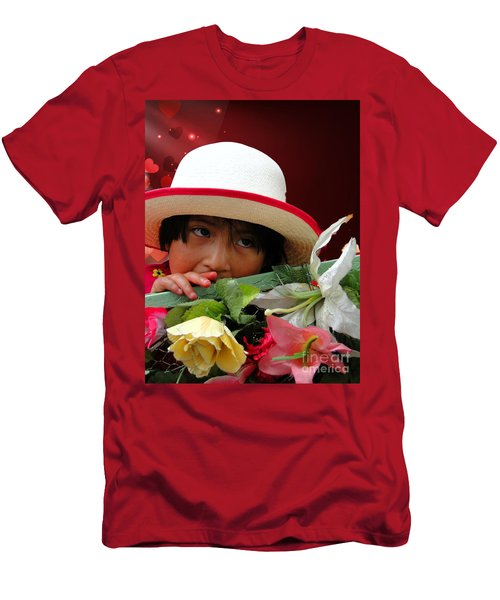 Men's T-Shirt (Slim Fit) featuring the photograph Cuenca Kids 887 by Al Bourassa